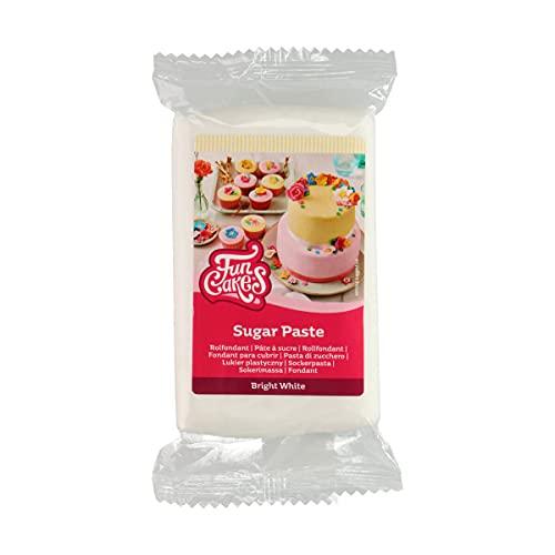 FunCakes Pasta di Zucchero Bright White: facile da usare, liscia, flessibile, morbida e pieghevole, perfetta per decorare torte, halal, kosher e senza glutine. 250 gr