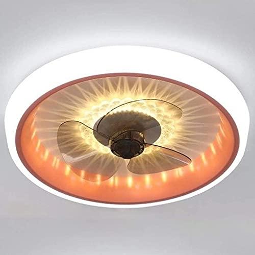 ZHBD Ventilador De Techo con Luz, Velocidad Remota 6 Velocidad LED Luz De Techo De Ventilador, Conversión De Frecuencia Y Dimmable, Luz del Ventilador De Techo De 36W con Temporizador,Naranja