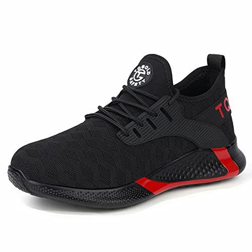 AONETIGER Chaussures de Sécurité Homme Femme Légère Chaussure de Travail avec Embout de Protection en Acier Chantier Noir Taille 42