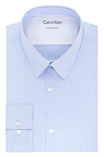 "Calvin Klein Men's-Thermal Stretch Xtreme Slim Fit Stripe Dress Shirt, blue frost, 15""-15.5"" Neck 32""-33"" Sleeve (Medium)"