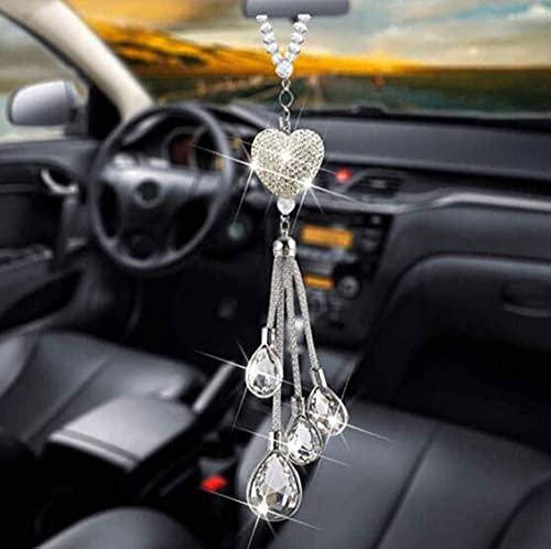 Colgante de cristal con forma de corazón brillante para espejo retrovisor de coche, para decoración de coche (color D: D)