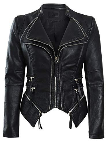SS7 Womens Faux Leather Biker Jacket Black