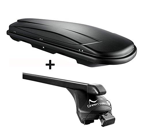VDP Dachbox schwarz Juxt 400 Dachkoffer 400 Liter abschließbar + Relingträger aufliegende Reling kompatibel mit Porsche Macan ab 2015 bis