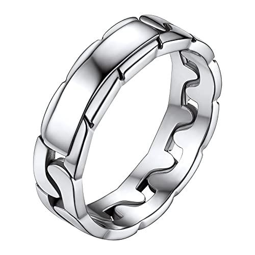 ChainsHouse Damen Jungen Fingerring Panzerkette Ring 5mm breit Cuban Chain Design Fingerring Gothic Fingerring Partnerring Freundschaftsring Retro Fingerring für Freundin Tochter Schwester