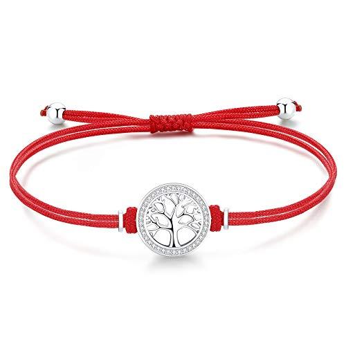 Jrêveinfini Pulsera Árbol de la Vida para Mujer Plata de Ley 925 con Circonita, Pulsera Rojo de Cuerda Hecha a Mano Ajustable 19+4cm