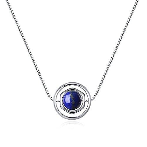 COAI Collar con Colgante de Piedra Genuina Cuenta Lapislázuli con Cadena de Cobre Platada Platino 40cm