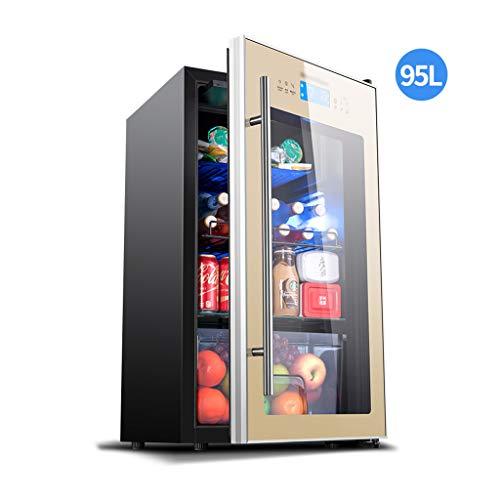 Zelfs 95L ingebouwde wijnkoeler met dubbele koelzones, gratis staande drankenkoelkast met glazen deur voor frisdrank bier of wijn - Drink koelkast voor thuisbar of kantoor