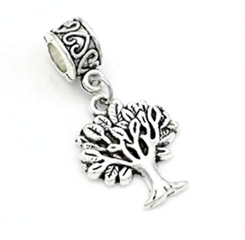 EVESCITY(TM) - Abalorio de árbol de la vida de plata envejecida con agujero grande para pulseras