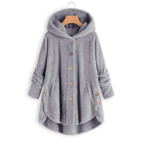 XZYP Frauen-Herbst-Winter-warme beiläufige Fleece mit Kapuze Mantel Teddy Fleece-Jacke,D,M