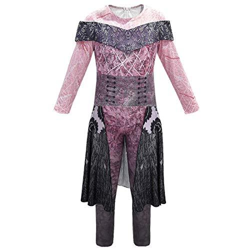 Moneycome Descendientes 3 Disfraz de Halloween Audrey Mal 3D Graphic Dragon Dress Halloween Cosplay Mono Onesies para niños Adultos