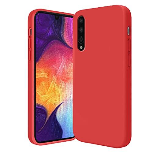 Funda compatible con Samsung Galaxy A50 carcasa de silicona líquida, funda Samsung A50 suave, antideslizante funda Samsung A50 Case (Rojo, Samsung A50)
