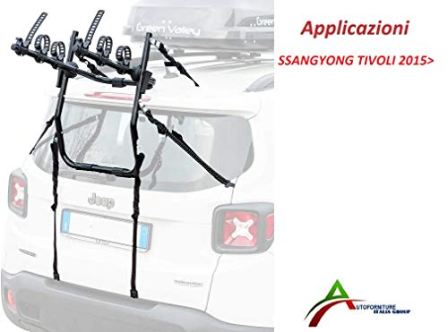 Fietsendrager gemonteerd en gebruiksklaar (3 fietsen) voor achterklep of kofferbak voor auto speciaal voor Tivoli 2015