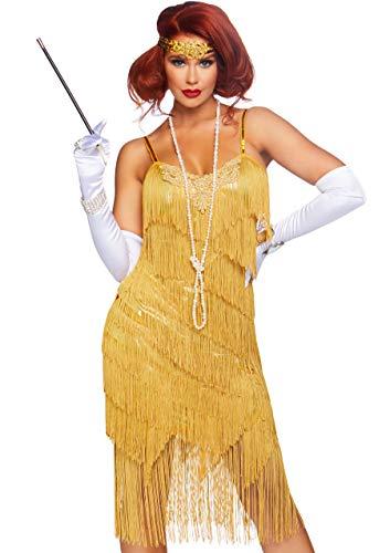 Leg Avenue Costume da Donna Anni '20 Vestito Charleston Vestito con Frange Dorate Carnevale (L)