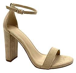 cheap Wild Diva Women's Chunky Heel High Heel Sandals (8.5, Natural)
