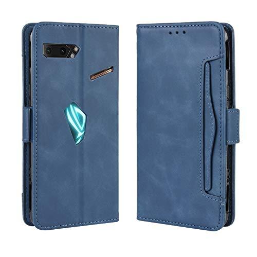 SPAK Asus ROG Phone II Hülle,Premium Leder Geldbörse Flip Schutzhülle Cover für Asus ROG Phone II (Blau)