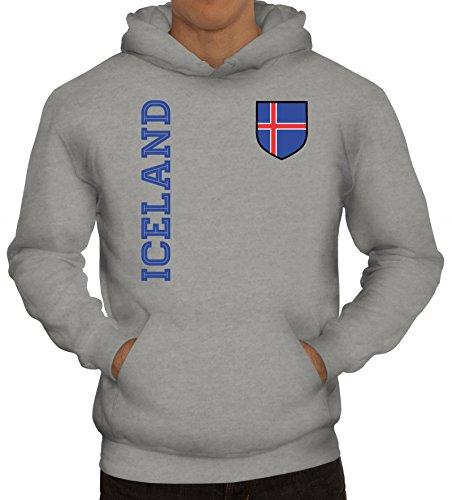 Island Fußball WM Fanshirt Gruppen Herren Hoodie Männer Kapuzenpullover Fan Trikot Iceland, Größe: L,Graumeliert