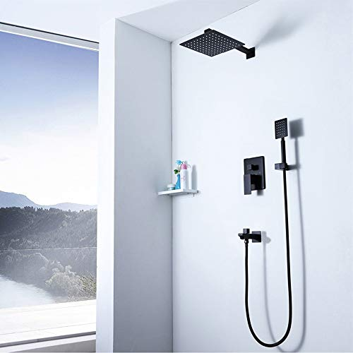 Read About Xihouxian Black Dark Wall-mounted 10 Square Stainless Steel Shower Three-function Hand-he...