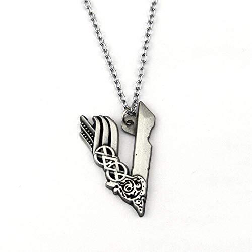 AMITD Viking Logo Llavero Colgante Collar con letra V Ragnar Lodbrok