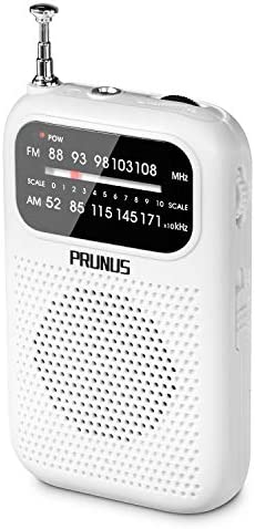 DE333 Small Portable Pocket Transistor Radio with FM AM, Signal Indicator, AAA Battery Operated, Perfect for Walking Jogging and Camping By PRUNUS