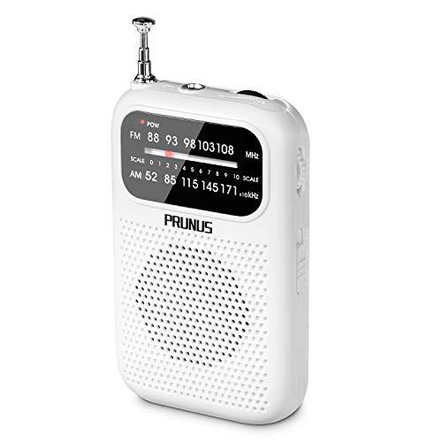 PRUNUS Radio de Transistor portátil, FM/Am Mini Radio de Bolsillo con Auriculares. Batería con Pilas 2 AAA para Correr, Caminar y Viajar. (Blanco)