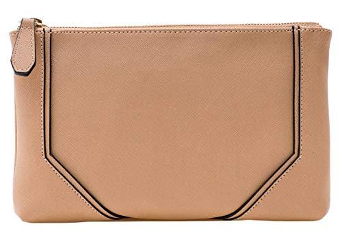 ANYHAN Women's Cross Body Bag - Saffiano PU Leather Zip Dual Body Compartment Shoulder Zipper Crossbody Strap Handbag Purse AZO-CR-BJ-01 Sand