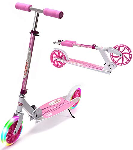 "ChromeWheels Kick Scooter, Deluxe 8"" Large 2 Light Up Wheels Wide Deck 5 Adjustable Height with Kickstand Foldable Scooters, Best Gift for Age 9 up Kids Girls Boys Teens, 200lb Weight Limit, Pink"