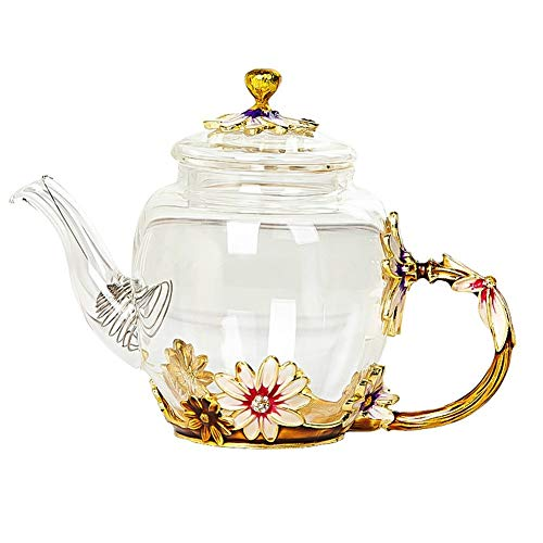 Beautiful Enamel Crystal Tea set daisy Glass Teapot for Hot and Cold Drinks Home Drinkware Office kettle Teaware set coffee pot (Color : 1 Teapot)