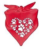 Hunde Dreiecks Halstuch (Fb: rot) HERZ aus Pfoten