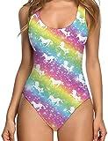 RAISEVERN Une pièce de Femme Licorne Prints Maillot de Bain Bikini Beachwear Tankini Maillots de Bain colorés