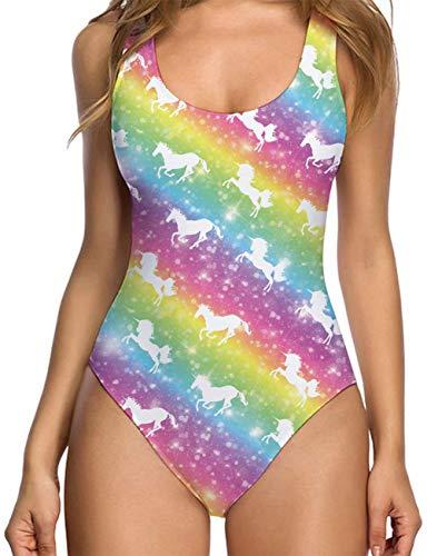 RAISEVERN Costume da Bagno Intero con Stampa Unicorno da Donna Bikini Costumi da Bagno Tankini Costumi da Bagno Colorati
