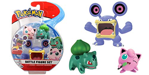 Lively Moments Pokémon Battle Pack Figuren Krakeelo, Pummeluff & Bisasam / 3 Sammelfiguren / Spielfiguren Erweiterung