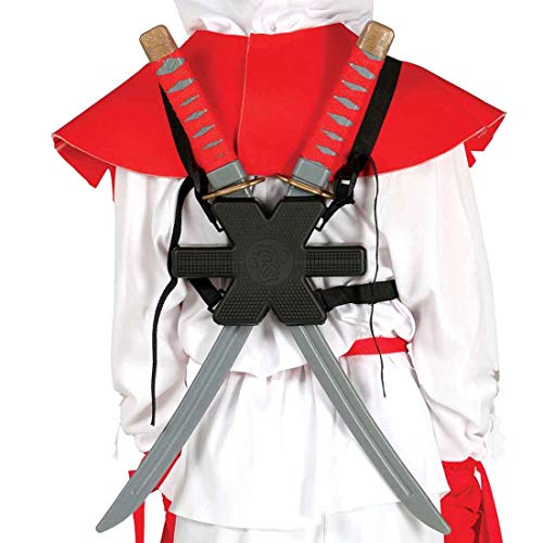 NET TOYS 2 Samurai Schwerter Katana mit Rückenhalterung Ninjaschwert Shinken Japanischer Krieger Klingen