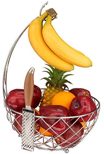 Roselife - Cesta de frutas, cuenco de almacenamiento de frutas, colgador de plátano y soporte de uva, soporte de plátano. Acabado cromado. (plata)