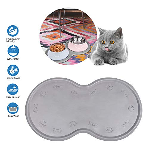 Dcxz Pet Feeding Mat Cat & Dog Mats for Food & Water - Flexible and Easy to Clean Feeding Mat - Non-Slip Waterproof Feeding Mat for Dog Food & Water Bowls Nontoxic Rubber Gray