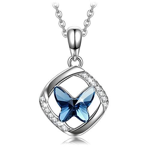 Sellot Collares Mujer, Regalos Originales para Mujer, Serie Sueño de Mariposa, Collar con Colgante de Mariposa, Cristales de Austria, Elegante Caja de Regalo