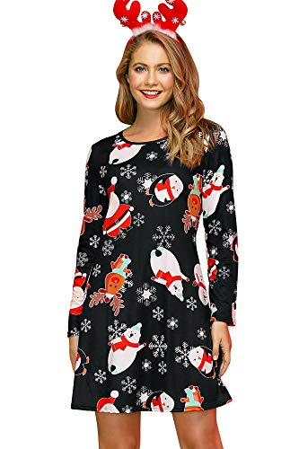 For G and PL Christmas Santa Clause Women Printed Club Wear Bodycon Longsleeve Swing Mid Dress Costumes XL