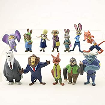 ELSANI Zootopia Deluxe Figure Set of 12 Toy Kit with Figures Cake Topper Cake Decoration Figures to Decorate Car House or Desk