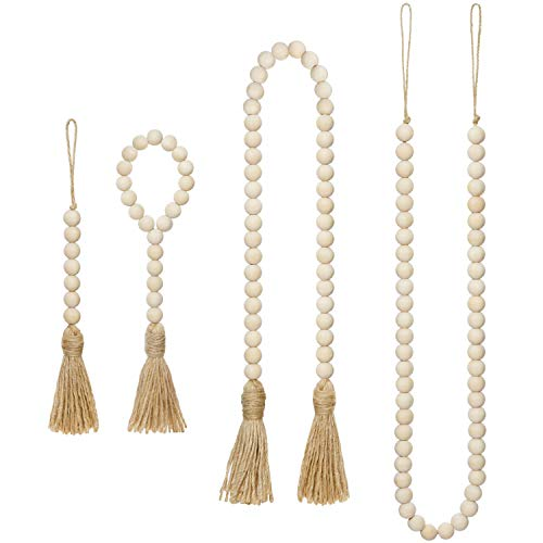 Mkono Wood Beads Garland with Tassels 4 Styles Prayer Beads Farmhouse Rustic Natural Wooden Bead String Wall Hanging for Baby Nursery Room Decor,Wedding Vase Ornament, Jute Rope