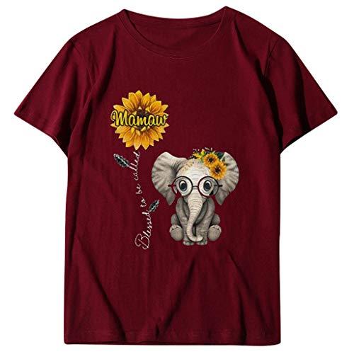 L9WEI Camiseta del día de la Madre Top de Manga Corta con Cuello Redondo para Mujer con Estampado de Elefante y Girasol Blusa Informal de Verano para Mujer Blusa Suelta de Moda
