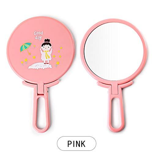 HUIHH Handheld Makeup Mirror Adjustable Hand Portable Free-Standing Make Up Mirror Cosmetic Travel Compact Pocket Mirrors 21 * 11CM B