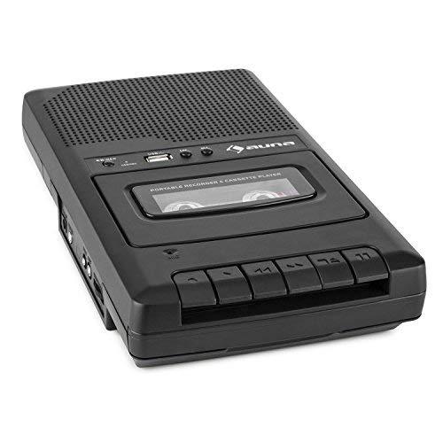 auna RQ-132 - Kassettenrekorder, Tonbandgerät, Diktiergerät, Tape Recorder, verbauter Lautsprecher, automatische Abschaltung, USB-Port, Netz- und Batteriebetrieb, portabel,mit USB, schwarz