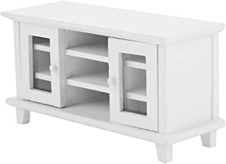 Tabpole Miniature Dollhouse 1:12 Scale Storage TV Cabinet Mini Wooden Furniture Kids Gift Wood Color