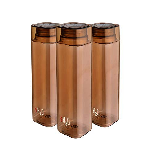 Cello H2O Squaremate Plastic Water Bottle, 1-Liter, Set of 3, Brown