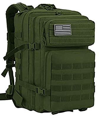 Luckin Packin Tactical Backpack,Military Backpack,Molle Bag 45 Liter Large Green