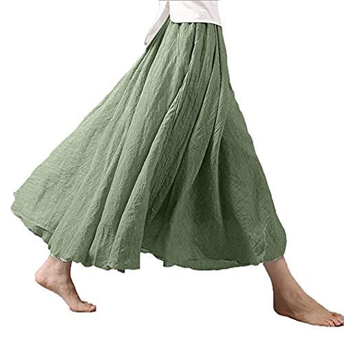 lotus.flower 2018 Women's Bohemian Style Elastic Waist Band Cotton Linen Long Maxi Skirt Dress (M, Light Green)