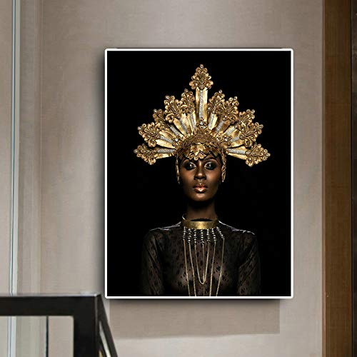 Geiqianjiumai Abstract zwarte gouden kroon-Afrikanerijn-olieverfschilderij-plakaat canvas-afdrukken