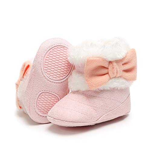 Baby Girl Plush Winter Snow Boots Bowknot Anti Slip Warm Infant Boots Toddler Prewalkers (12-18 Months Toddler, 1-Pink)