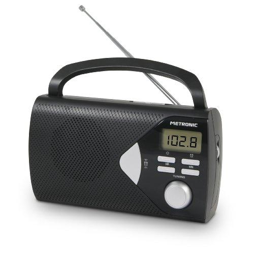 Metronic 477205 Radio Portable (AM/FM) avec Fonction Réveil - Noir