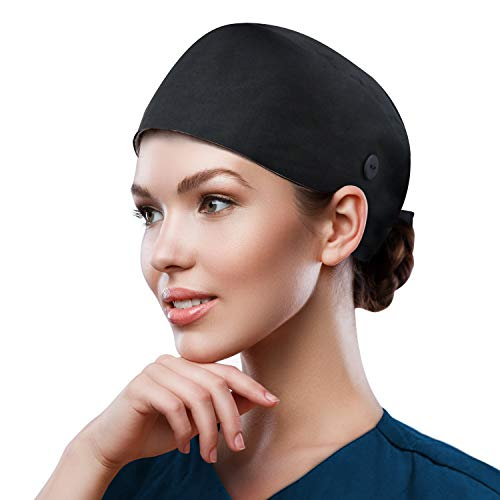 QBA Adjustable Working Cap with Button, Cotton Working Hat Sweatband, Elastic Bandage Tie Back Hats for Women & Men, One Size Black