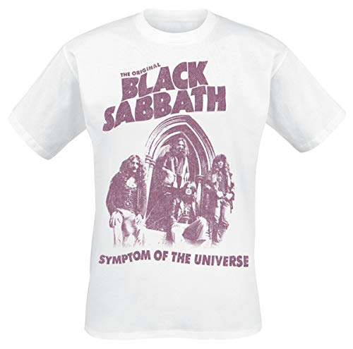Black Sabbath Symptom of The Universe Homme T-Shirt Manches Courtes Blanc L